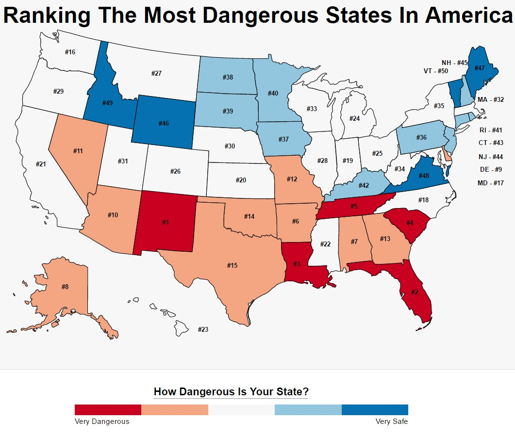 These are the 10 most dangerous states in america roadsnacks for Top ten cities in the us