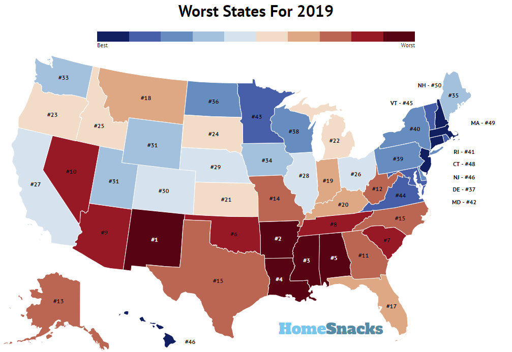 These Are 10 Worst States In America For 2019 Roadsnacks